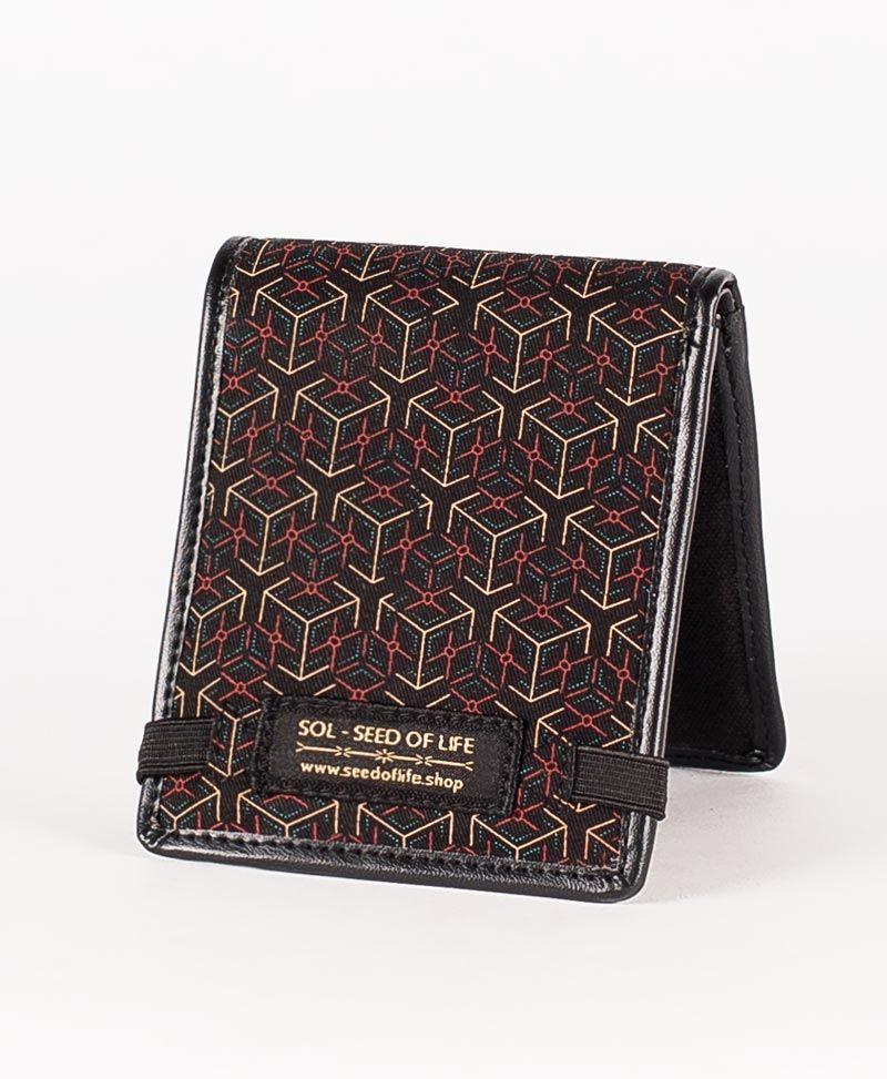 psychedelic mens wallet bifold slim wallet geometric kubice